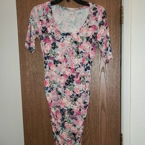 Pink floral side ruched maternity dress